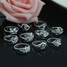 10pcs 925 sterling silver ring 10 petals mixed silver ring Women's dazzling jewelry wholesale Conventional 7-8-9