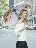 Black Coating Sun Umbrella Sunflower Rain Women Flower UV Protection Pocket Parasol Small Portable Cute Ultra Light Small U5B