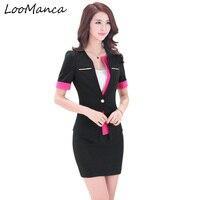 Professionelle Frauen Anzug Set Büro Uniform Designs Damen Blaser Damen Röcke Anzüge Weiblichen Kurzarm Blazer Jacke