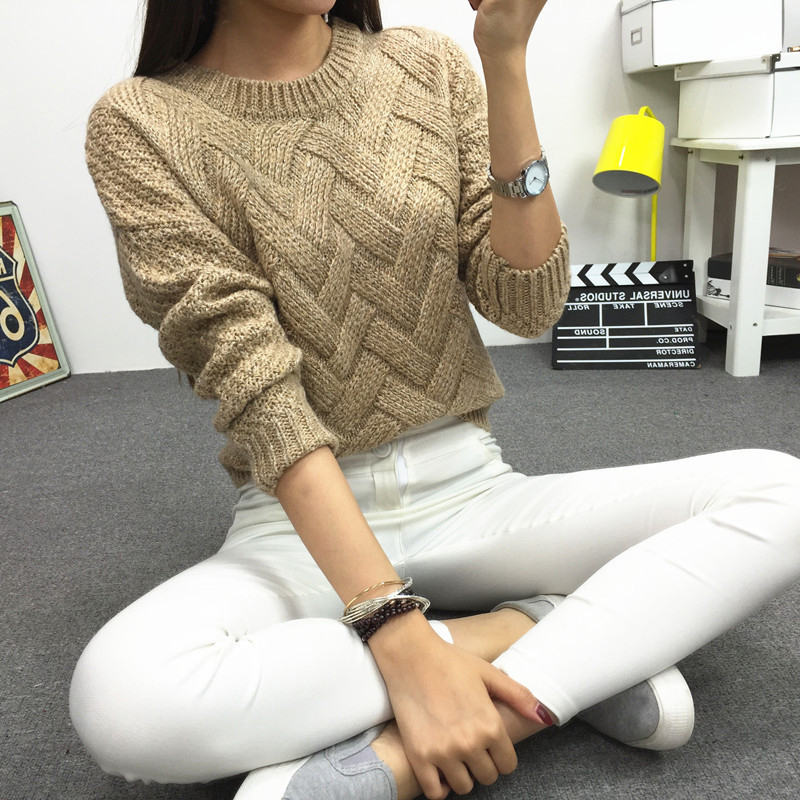 Women Motley Thick Twist Weave Long Sleeve Knit Pullover Sweater Autumn Winter Bottom Shirt Top WDC101016933