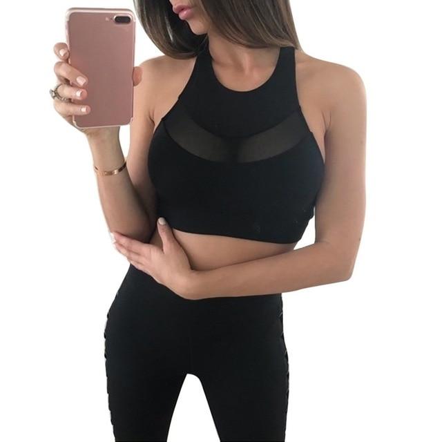 215787bd21 2019 New Sexy Women Mesh Sports Bra High Neck Halter Black Red Fitness Top  Running Tights Shirts Push up Yoga Tops Gym Clothing