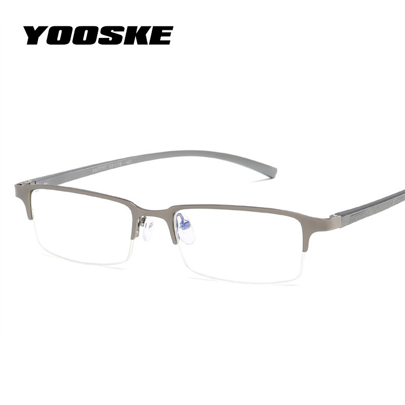 f8e366b926ce3 Homens Azul YOOSKE Bloqueando a Luz Óculos de Armação Óculos de Lente Azul  Transparente Bussiness Homens Óculos Quadros de Alumínio E Magnésio