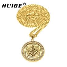 New Arrival Iced out Rhinestone Gold Color Freemason Masonic Round Pendant Freemasonry Hip Hop Compass G  Necklace For Men/Women