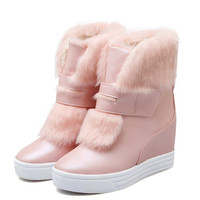 2017 High Quality Woman Mid Calf Snow Boots Height Increasing Boots Woman Winter Round Toe Slip On Winter Boots