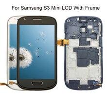 Для samsung Galaxy S3 мини I8190 i8190N i8195 i8200 с рамкой Экран сенсорный экран Заменить 100% тестирование