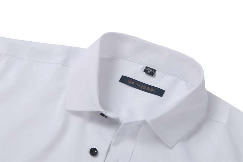 5286a618229c ... Bamboo Fiber Mens Dress Shirt 2018 Brand New Solid Color Long Sleeve  White Shirt Men Casual ...