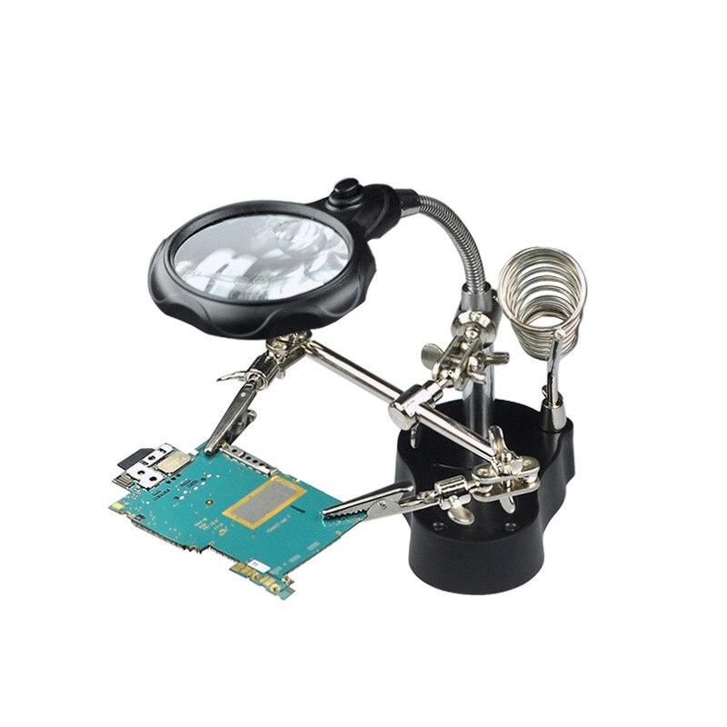Estação de Solda Desktop Lupa Inoxidável Clipe Auxiliar Relógio Manutenção 3.5x12xled Aço
