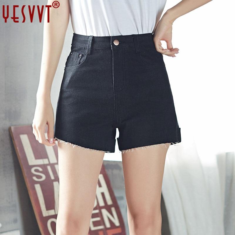 YESVVT Plus Size High Waist Denim Shorts For Women Casual Blue Cotton Short Jeans 2016 Summer