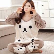 2018 Autumn Winter Women Pajamas Set Sleep Jacket Pant Sleepwear Warm Nightgown Female Cartoon Bear Animal