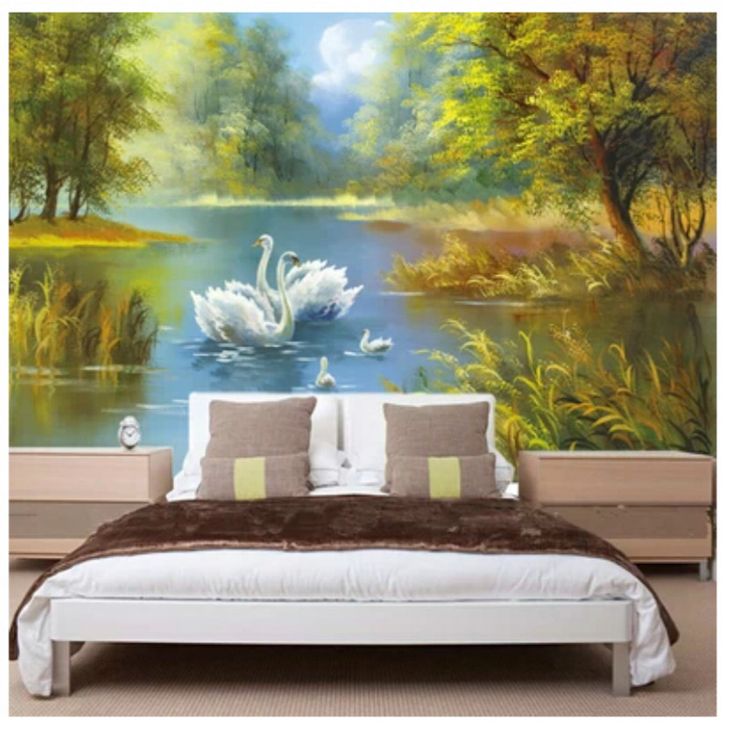 Mural tv sofa entranceway background 3D wallpaper painting fashion swan lake oil painting living room bedroom Wall Paper free shipping swan lake blue 3d stereo background wall bedroom living room mural 3d high quality office wallpaper