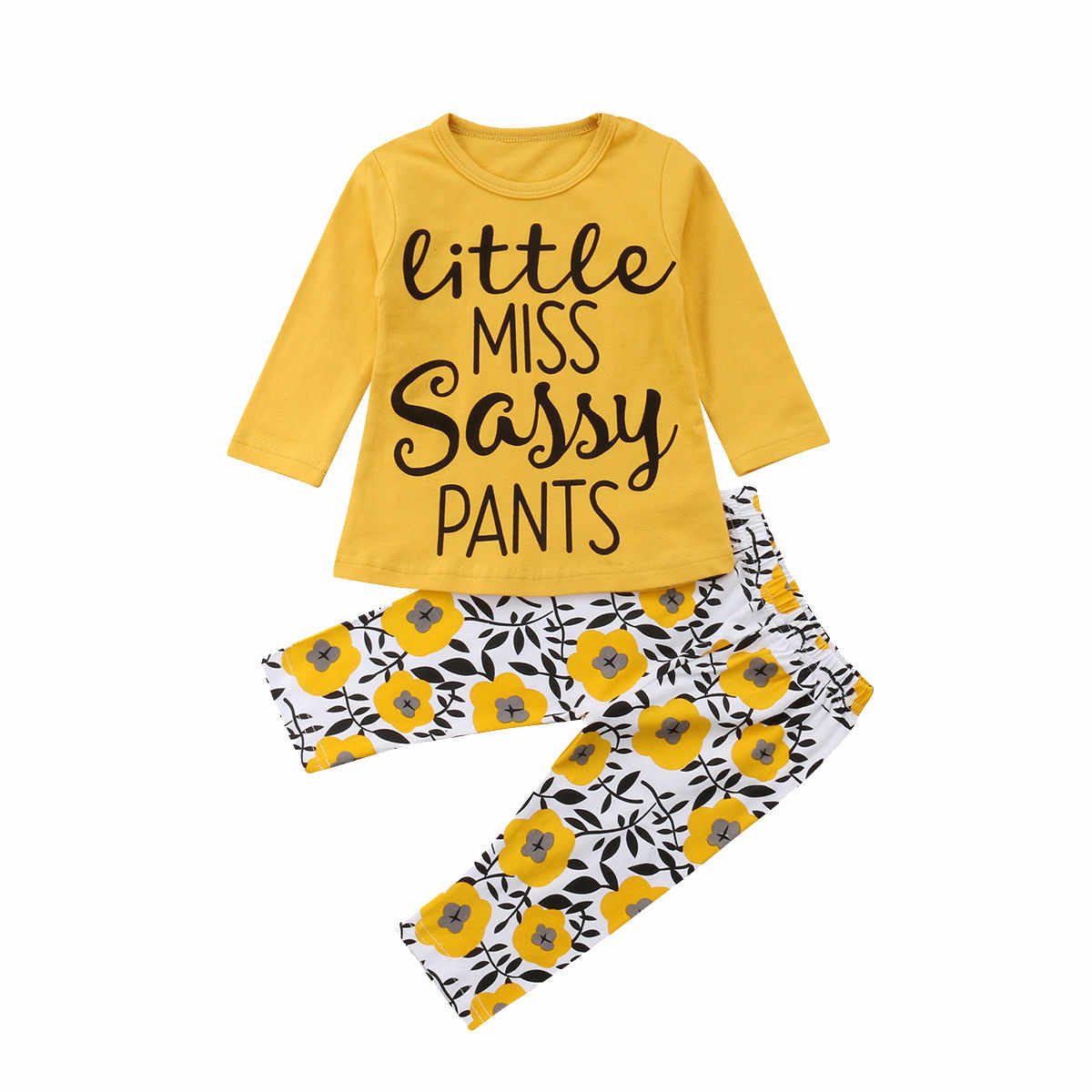 Girls Clothing Sets 2PCS Infant Baby Boys Girls Long Sleeve Letter Tops+Floral Pants Sunflower Outfit Clothes Girls Clothes Suit