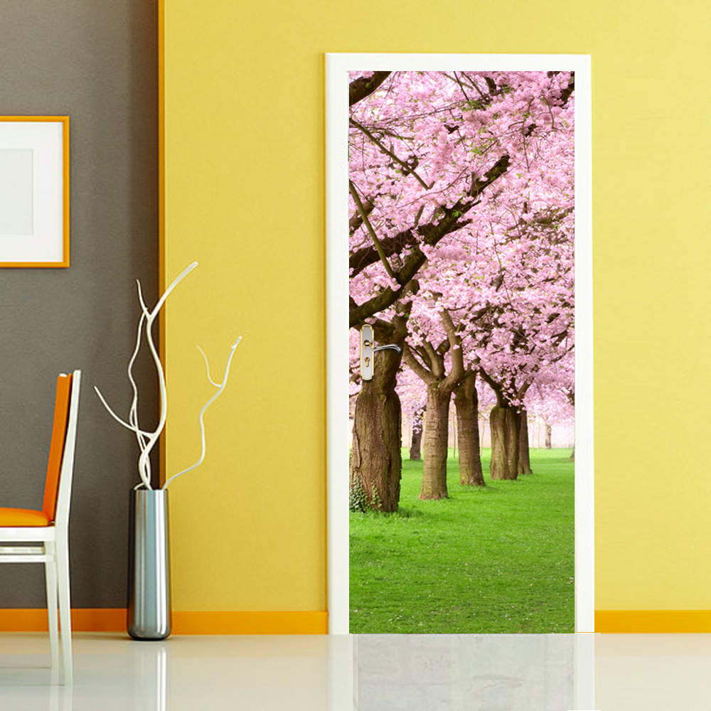 ᐃJERMYN 3D Door Stickers Cherry Forest Pattern for Kids Room Door ...