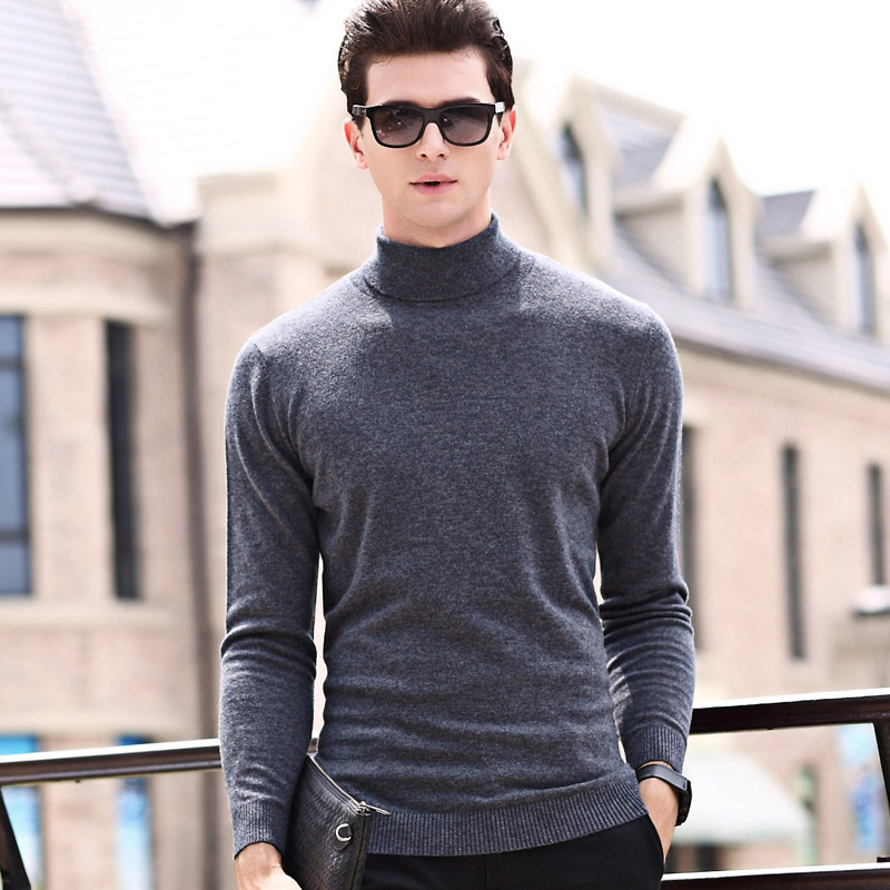 Mens Sweaters 2018 Pullovers Turtleneck Men Wool Sweater Men Clothes Mens Casual Loose Solid Men Winter Clothes Spliced Thin Top
