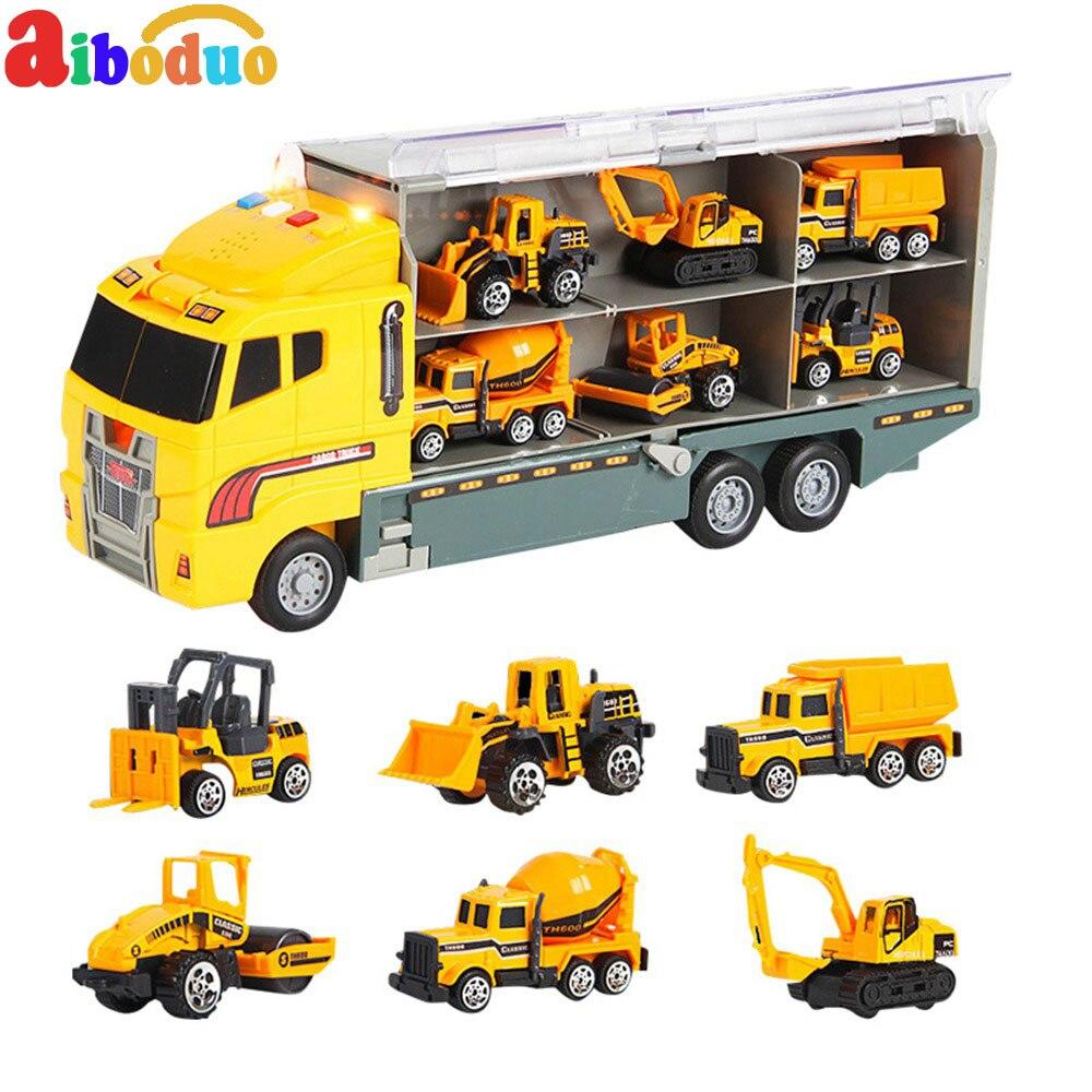 Aiboduo voiture jouet alliage voiture modèle ensemble Portable de stockage camion voiture modèle garçons cadeau 7 pièces