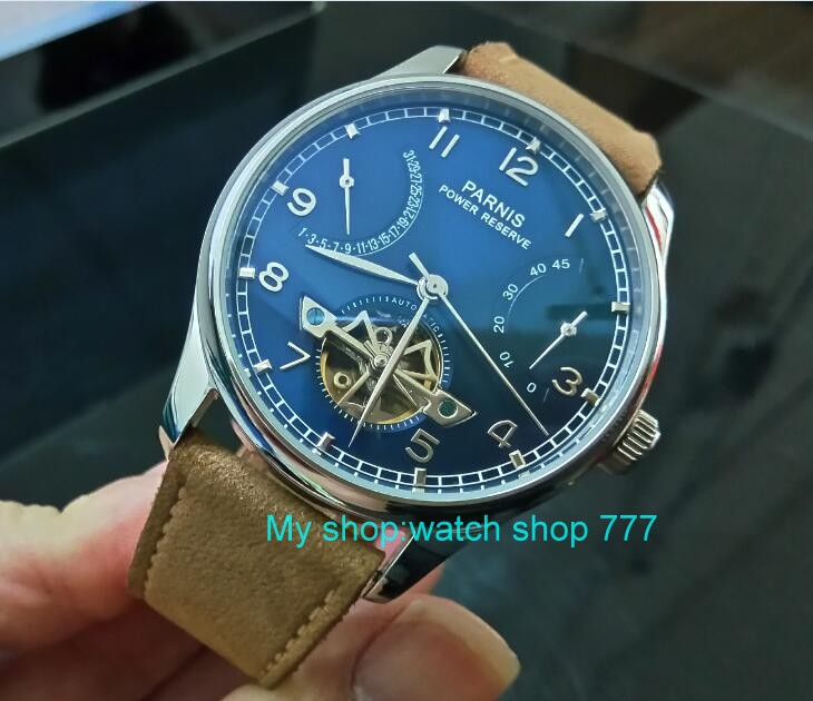 43mm PARNIS Blue dial power reserve Automatic Self-Wind Mechanical movement men's watch butterfly Leather Starps zdgd30a