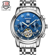 Mens watches Automatic Mechanical Watch Tourbillon Clock Steel Casual Business Wristwatch Top relojes hombre BINKADA brand