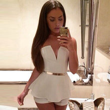 e101563938bd white black fashion tunic playsuit Deep V Neck Women Elegant Sexy strapless  Romper Sleeveless One Piece Straps Shorts jumpsuit s