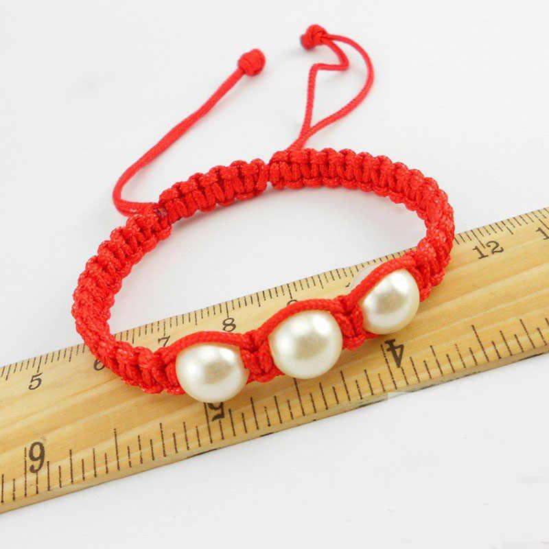 Sorte Vermelho Tópico Pulseiras Pulseiras para Mulheres DIY Pulseira Artesanal Corda com Pérolas Corda Trançada Amizade Braclet Jóias Presente
