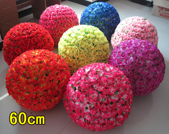 8 Colors 60cm/ 24 inch Big Size Wedding Decorations Artificial Silk Kissing Pomander Rose Flowers Balls Supplies Free Shipping