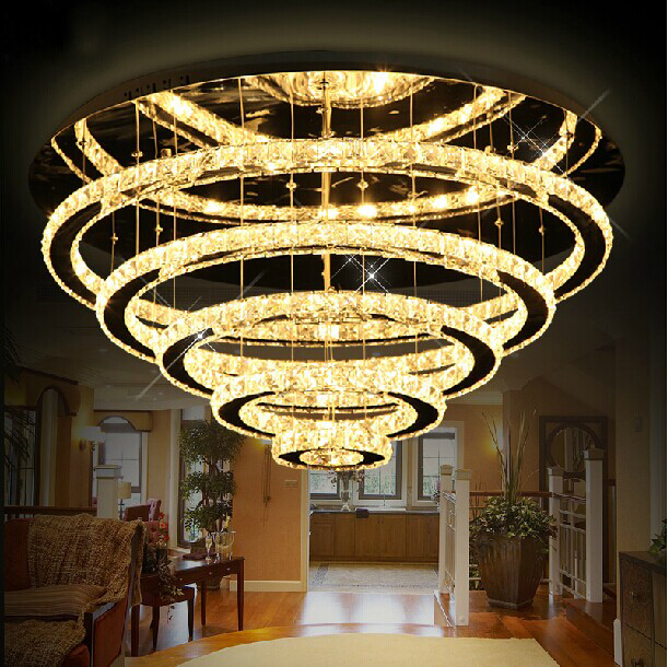 luxury modern crystal chandelier 5 rings rings design lustres de cristal lobby lobby led. Black Bedroom Furniture Sets. Home Design Ideas