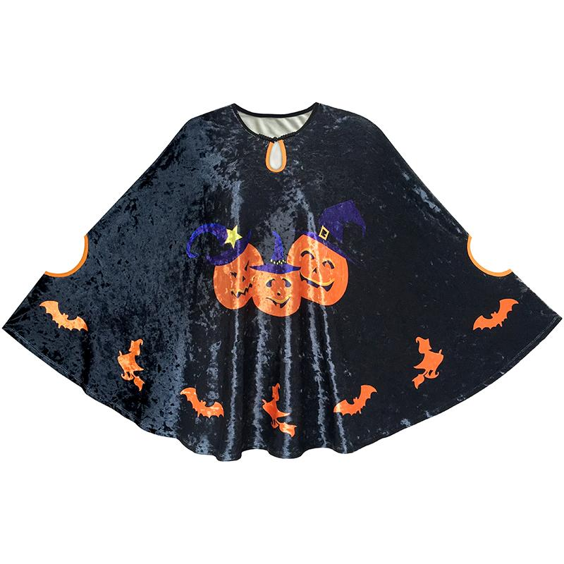 Halloween Cape Velvet Cloak Pumpkin Witch Bat Costumes Wizard 2018 Summer Princess Wedding Party Dresses Kids Clothes Size 4-12 hot sale open front geometry pattern batwing winter loose cloak coat poncho cape for women