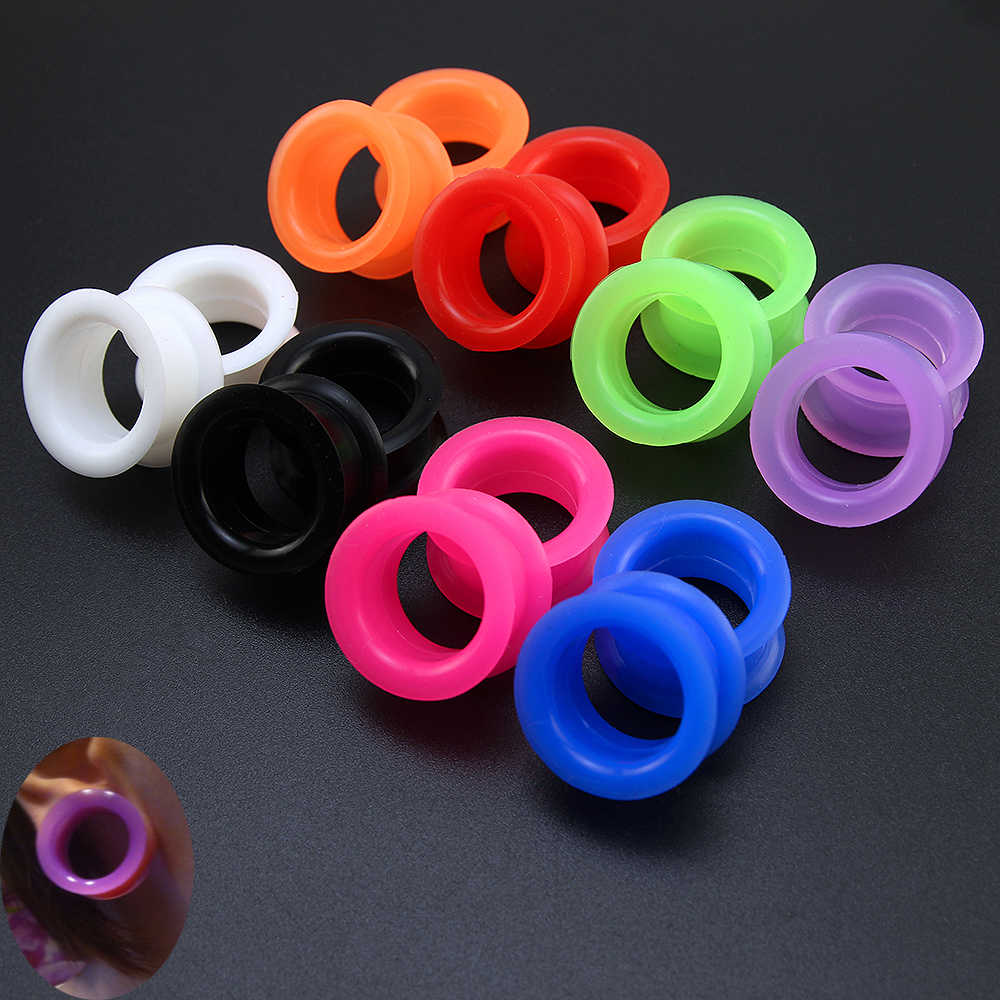 2 cái Silicone Linh Hoạt Ear Flesh Tunnel Solft Cắm Gauge Piercing Băng Expander Hollow Ear Da Earrings Body Jewelry