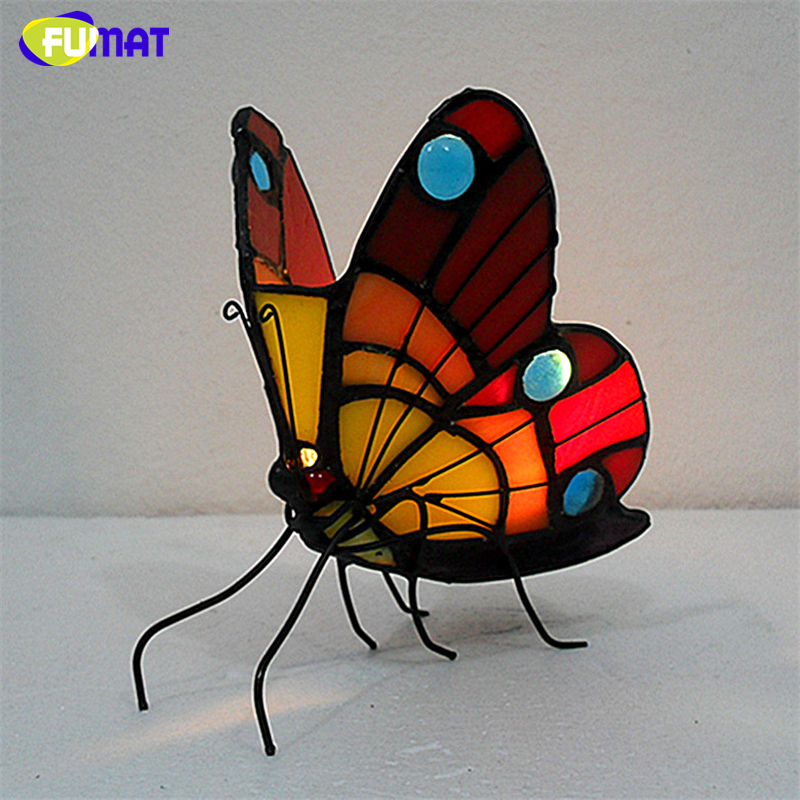 FUMAT Night Light Butterfly Stained Glass Candle Holder Atmosphere Light For Indoor Lighting Bedroom Bedside Tealight Holder