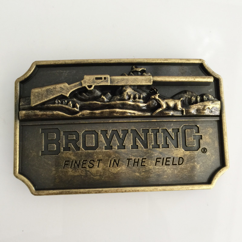 Retail New Browning Hunting Belt Buckle With Bronze Rectangle Metal Cowboy Buckles Man Jeans Jewelry Accessories