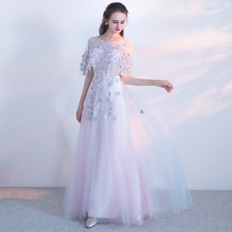 SSYFashion New Sweet Pink Lace Flower Evening Dress The Bride Banquet  Elegant Floor-length Long Party Formal Gown Custom Made 096d35809a44