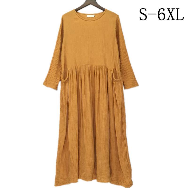 2019 Spring Women Cotton Linen Dress Autumn Loose long Sleeve Plus Size S 5XL 6XL maxi dress,Winter loose casual dresses