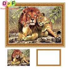 DPF Framed Diamond Embroidery round Painting Cross Stitch Rhinestone home Decoration painting The lion