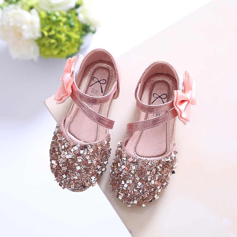 Лидер продаж дети принцесса искусственная кожа блёстки обувь для девочек с цветочным узором Свадебная вечеринка модельные детские туфли девоче