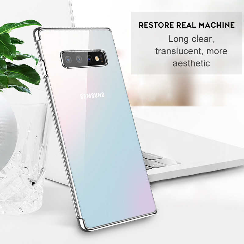 Clear Silicon Phone Case For Samsung Galaxy S10 Plus A8 A6 Plus A7 A9 2018 A50 A30 A10 A6S A9S A7 A5 A3 2017 Plating Cover Case