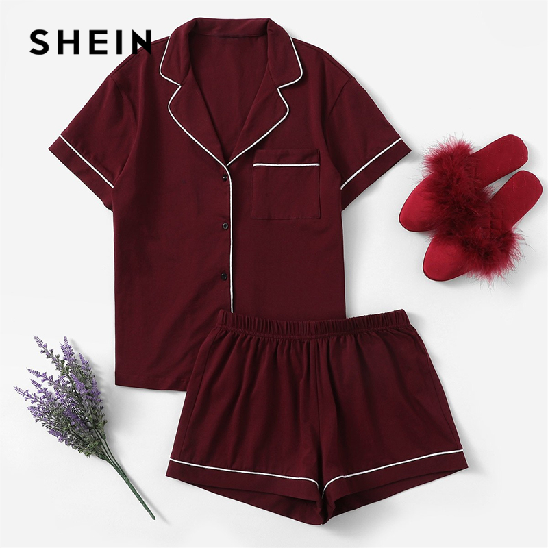 SHEIN Burgundy Contrast Piping Pocket Front Shirt And Shorts PJ Set Women Plain Button Short Sleeve Casual 2019 Nightwear
