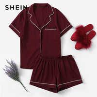 Shein borgonha contraste tubular bolso frente camisa e shorts pj definir feminino simples botão manga curta casual 2019 nightwear