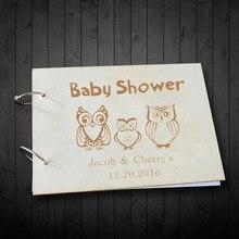 Креативная деревянная книга для гостей детская игрушка в ванную пользовательский дизайн совы для украшения дня рождения уникальный деревенский фотоальбом спрос среди детей