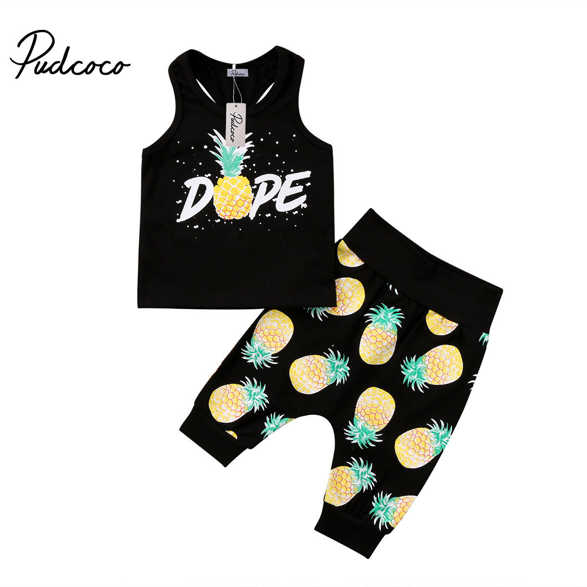 Pudcoco 2PCS Toddler Infant Kid Baby Boys Pineapple Clothing Sleeveless T-shirt Tops Pants Outfits