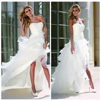 Белые высокие низкие пляжные свадебные платья из фатина с изогнутым вырезом без рукавов каскадная женская блуза с послойным расположением