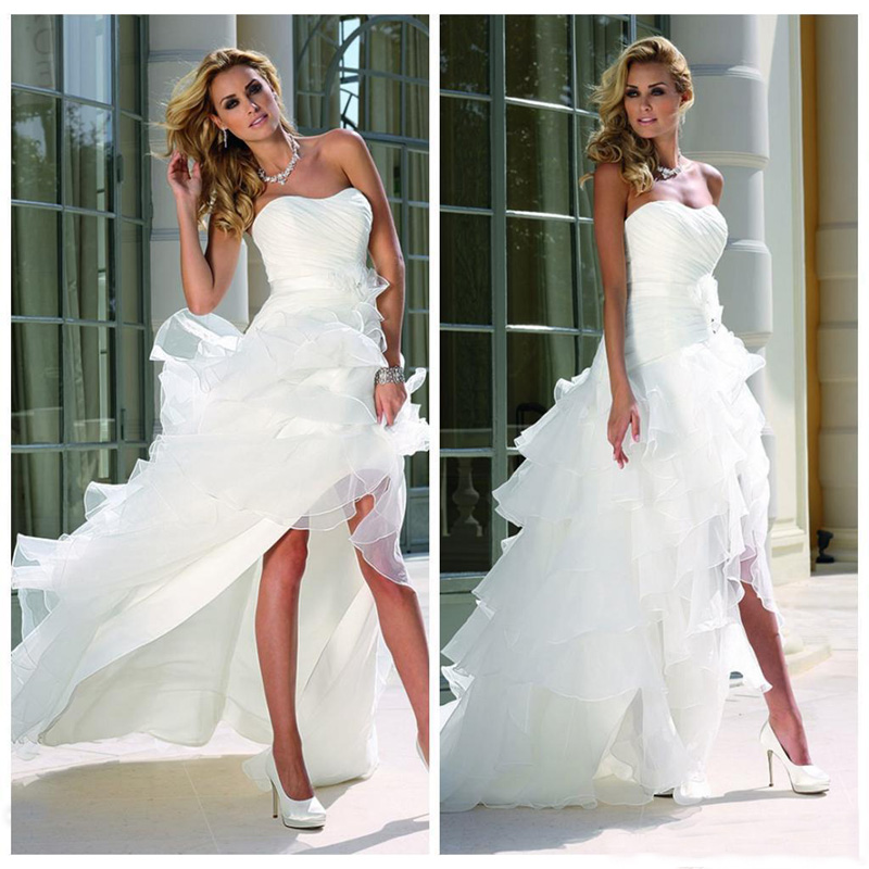 White High Low Beach Tulle Wedding Gowns Curved Neckline