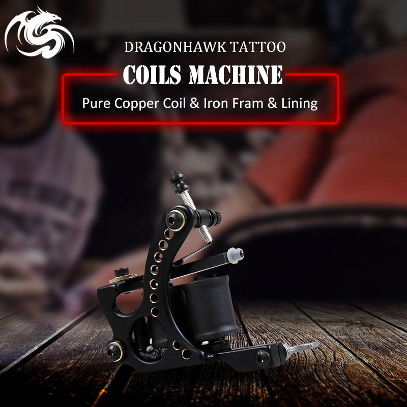 все цены на New Design Dragonhawk Coil Tattoo Machine Pure Copper Wrap Coils Tattoo Guns Supply онлайн