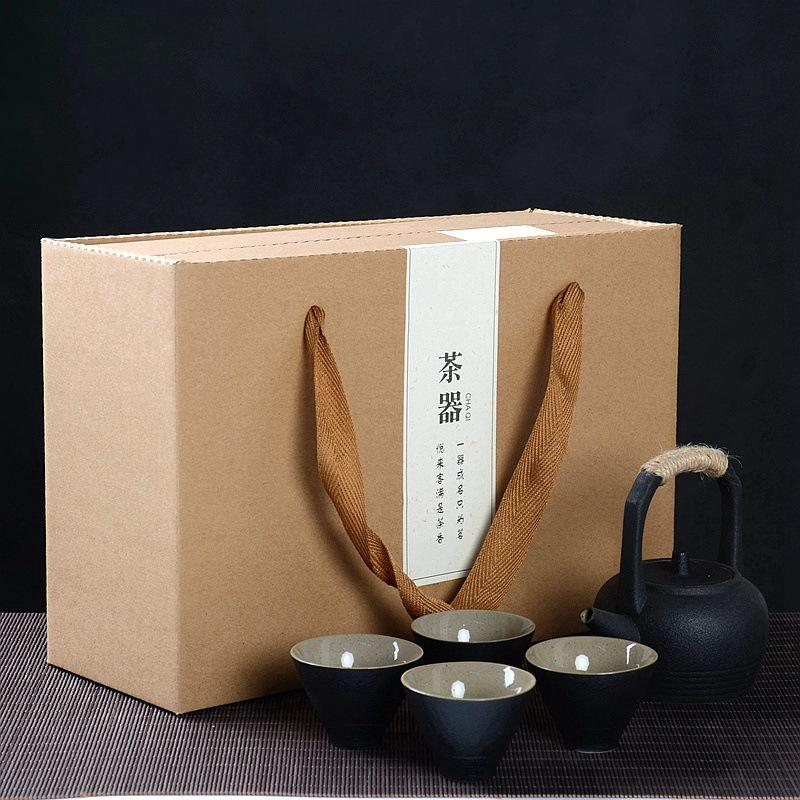 Porcelain Handle Teapot Kettle Ceramic Tea Set Include 1 Teapot 4 Teacups Black Chinese Travel Ceramic Portable Teaset
