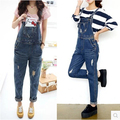 2016 spring summer European fashion women jumpsuit denim female blue casual jeans jumpsuits for lady wear Freeshipping