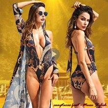 Sexy Women Swimsuit With Long Sleeve Cover Up Sets One Piece High Cut Thong Bikini Brazilian Deep V Backless Printed Swimwear UK