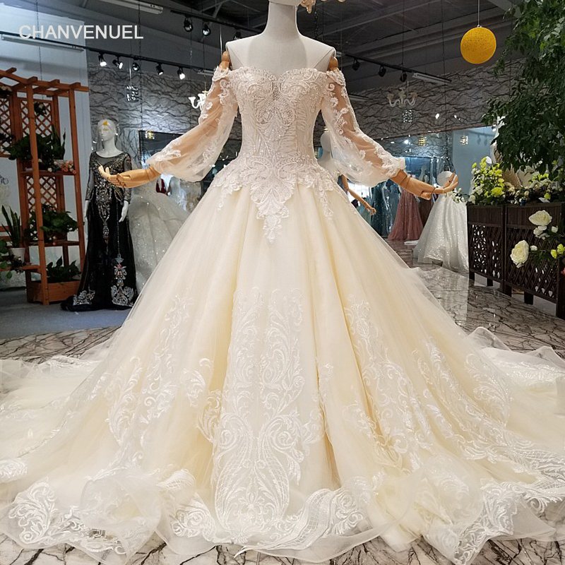 LS41005 Elegant Long Train Wedding Dress Off The Shoulder