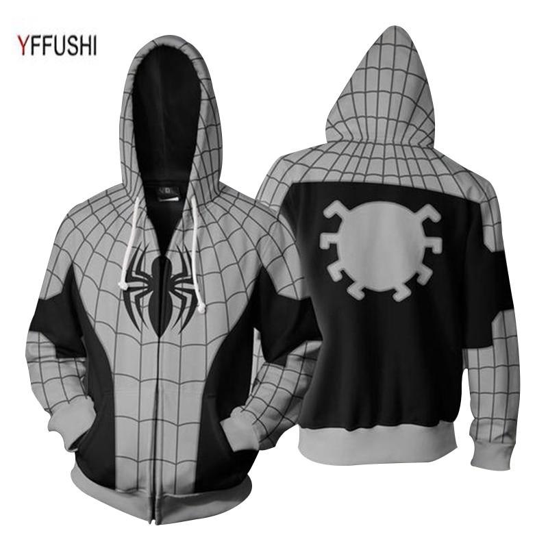 YFFUSHI 2018 New Arrival Male 3D Zipper Jacket Fashion Naruto 3d Print Coat Hot Sale Spider Print Zipper Hoodie Men Plus Size