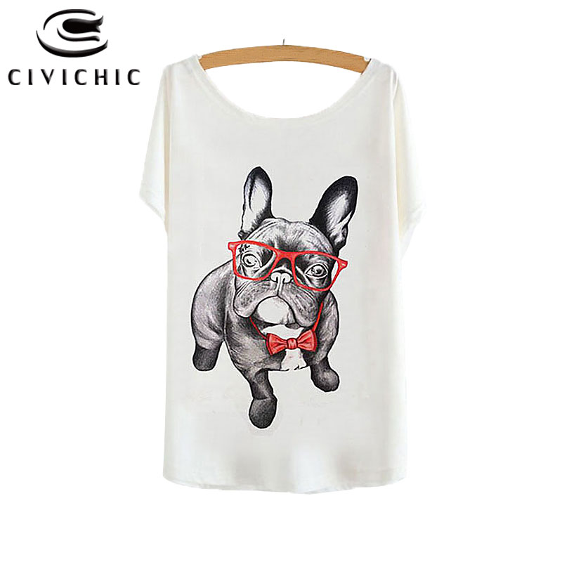 CIVI CHIC Girl Summer Loose T Shirt Woman Bat Sleeve Tops French Bulldog Lovely Sharpei Dog Printed Tees One Size Tshirt WST108