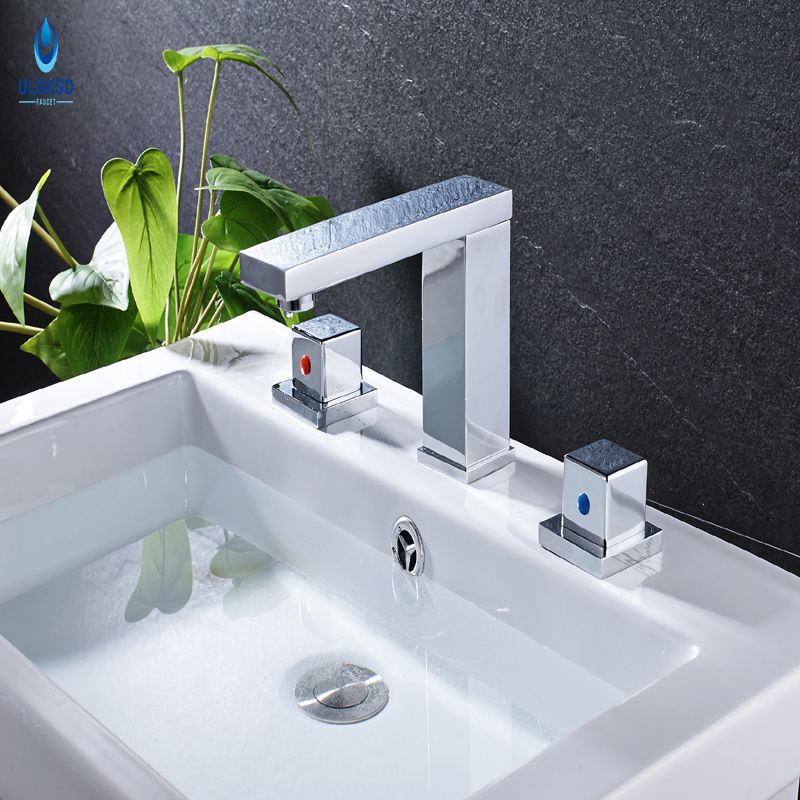 Ulgksd New Design Bathroom Faucet Chrome Basin Sink Faucet Water Tap Deck Mounted Washing Faucet Hot and Cold Mixer Tap micoe hot and cold water basin faucet mixer single handle single hole modern style chrome tap square multi function m hc203