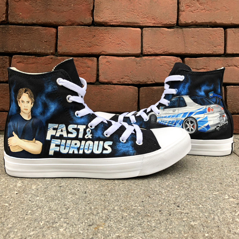 Wen Black Shoes Hand Painted Design Fast & Furious High Top Men Women's Canvas Sneakers Custom Athletic Shoes wen design custom astronaut outer space moon galaxy hand painted black canvas sneakers high top adults unisex athletic shoes