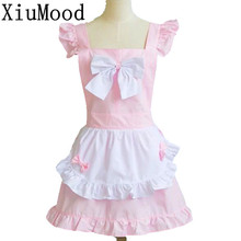 Household Fashion Cleaning Kitchen Aprons Cooking Palace Maid Lovely Princess Pink Bow Pocket Salon Work Wear