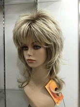 fashion High quality blonde with medium brown root layered medium length synthetic women's full wig  free shipping